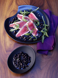 Tuna-Carpaccio-with-Wild-Blueberry-Wasabi-Sauce