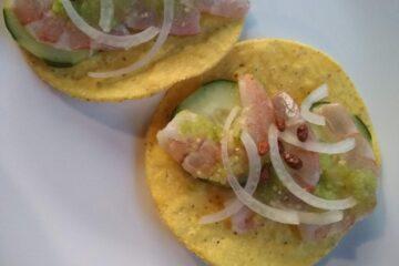 Shrimp aguachiles tostada