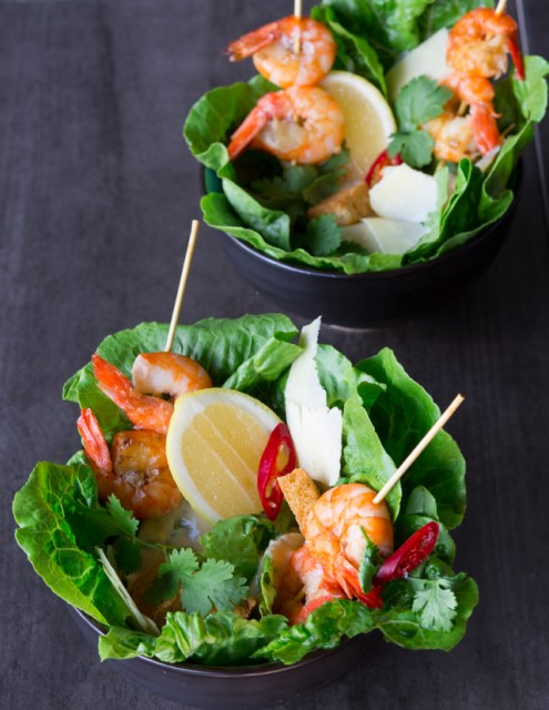 caesar salad with grilled prawns